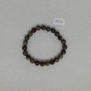 Bracelet composé d'un élastique doublé et agrémenté de perles Sang de Dragon de 8 mm. Grade AAA. Tour de poignet de 18 à 20 cm.